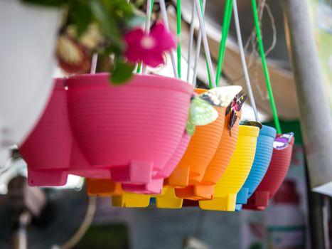 colourful plastic flower pots