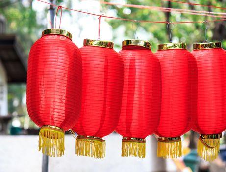 closeup of a red chinese lantern