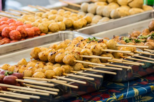 Thai Style grilled meat Ball with sweet and sour sauce.