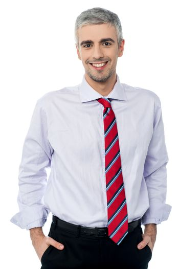 Confident smiling middle age business man