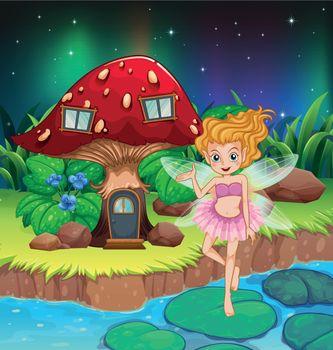 A fairy flying beside a mushroom house