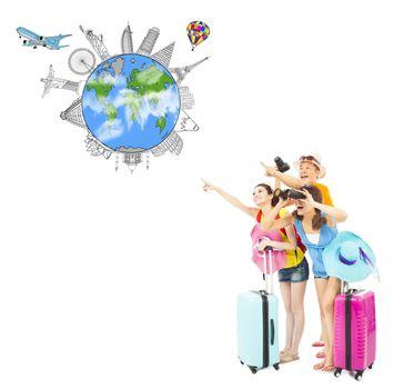 happy young people looking for worldwide landmarks