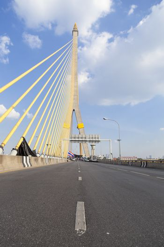 Road on the Rama VIII Bridge Daytime air sunny skies