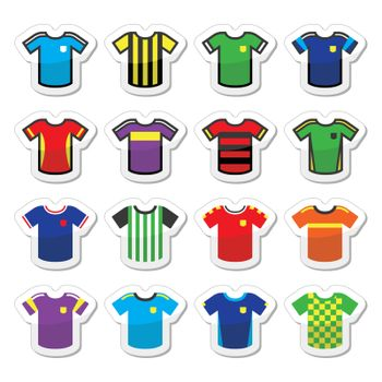 Vector icons set of jerseys of football players isolated on white