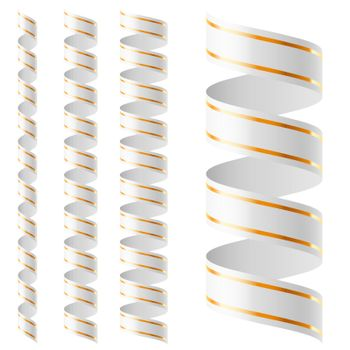 Vertical white ribbon of different sizes on a white background