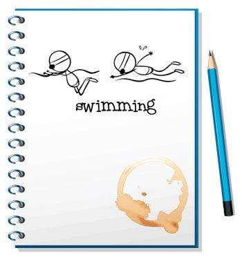 Illustration of a notebook with a sketch of two people swimming on a white background