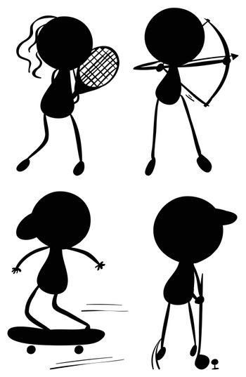Illustration of the silhouettes of people playing sports on a white background