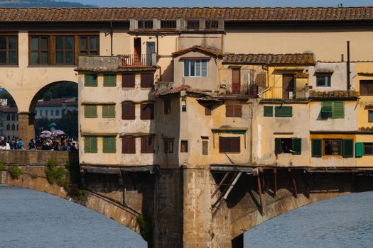 Unusual inside view into the famous Ponte Vecchio  in Florence- Italy