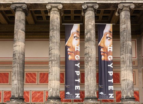 Doric columns of Belin´s Altes Museum with Nefertiti exhibition add inbetween