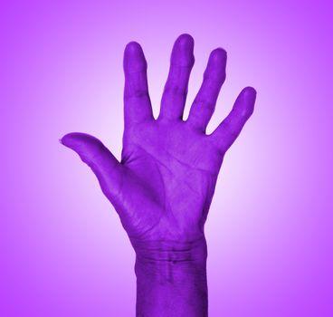 Hand symbol, saying five, saying hello or saying stop