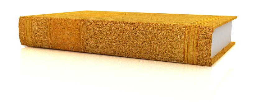 The leather book on a white background