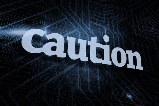 Caution against futuristic black and blue background