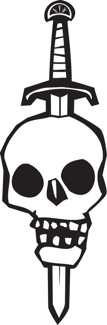 Woodcut style image of a human skull impaled on a sword.