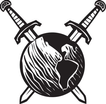 Woodcut style image of the earth impaled with two crossed swords.