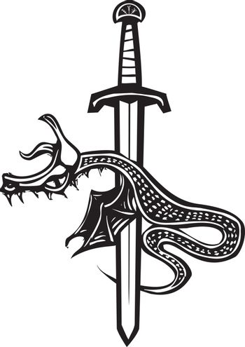 Woodcut style image of a dragon spitted on a sword.