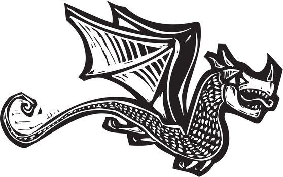 Woodcut image of a single flying dragon.