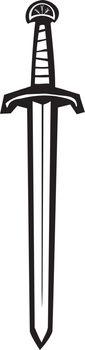 Woodcut image of a long sword.