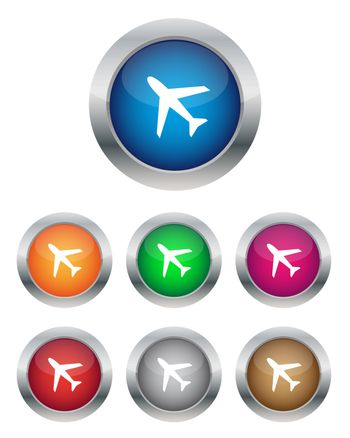 Airplane buttons in various colors