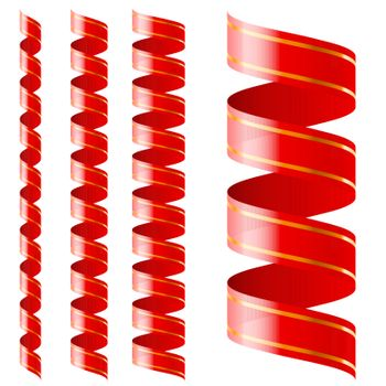 Vertical  red ribbon of different sizes on a white background