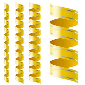 Vertical yellow ribbon of different sizes on a white background