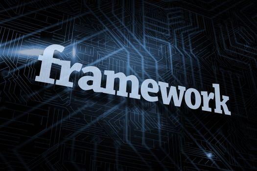 Framework against futuristic black and blue background