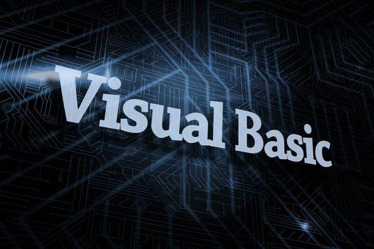 Visual basic against futuristic black and blue background