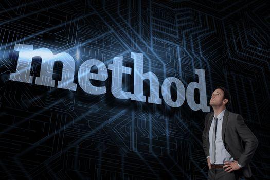 Method against futuristic black and blue background