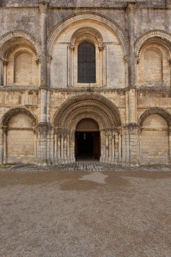 General view of beautiful romanesque facade in Saintes Framce .Abbey aux Dames