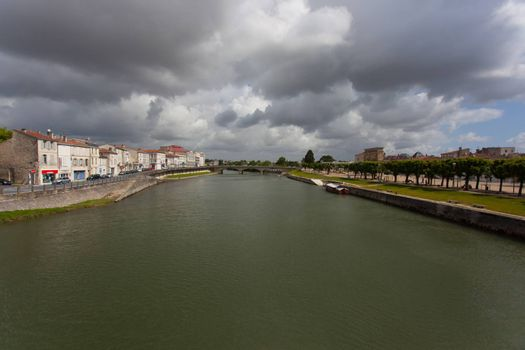 Charente river crossing the town of Saintes in france