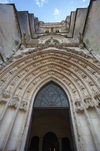 View of the entrance archivolts of Saint Pierre cathedral in Saintes France