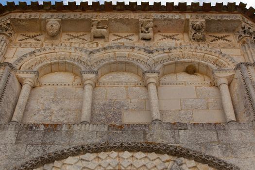 Archery detail in tha abse of the romanesque Retaud church,Charente, France
