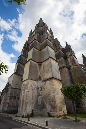 Main tower of the Saint Pierre Cathedral in Saintes, France