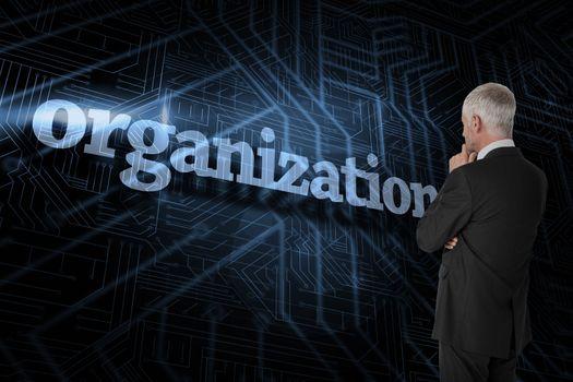 Organization against futuristic black and blue background