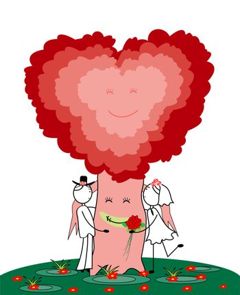 bride and groom with heart tree isolated on white