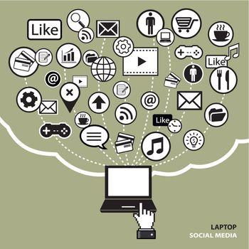 laptop social media concept