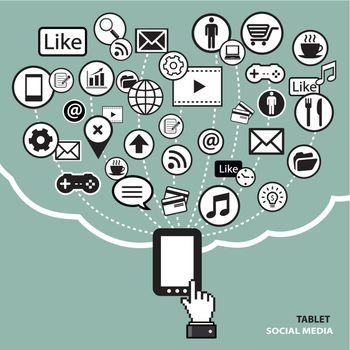 tablet social media concept
