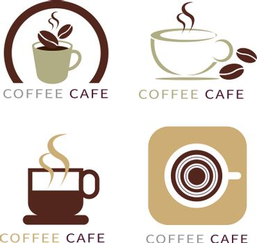 set of icon on coffee element