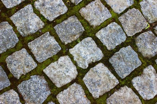 track made ??of square stones in neat rows