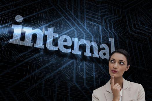 Internal against futuristic black and blue background