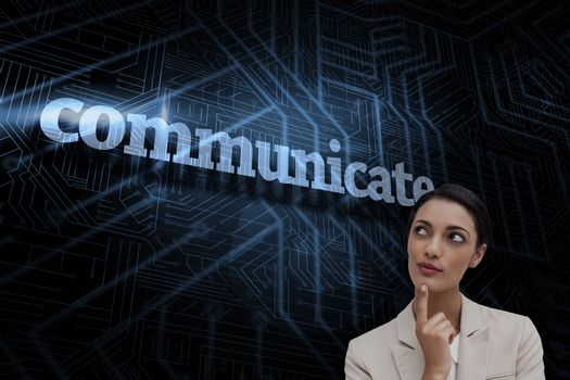Communicate against futuristic black and blue background