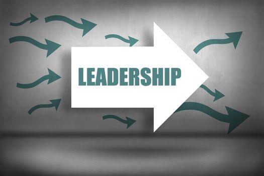Leadership against arrows pointing