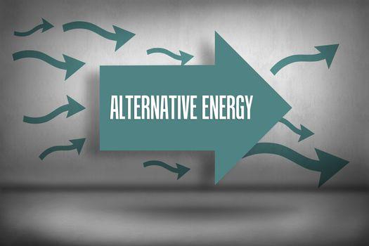 Alternative energy against arrows pointing