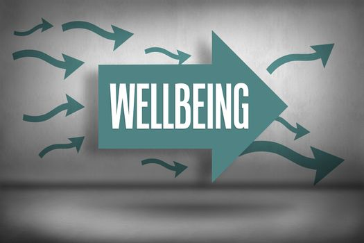 Wellbeing against arrows pointing