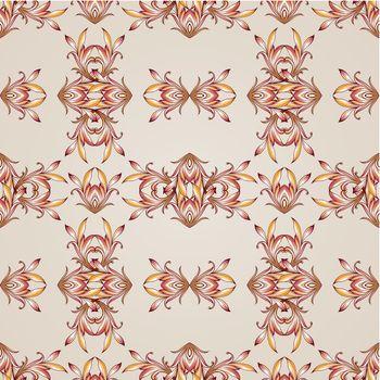 Seamless floral pattern on light beige background