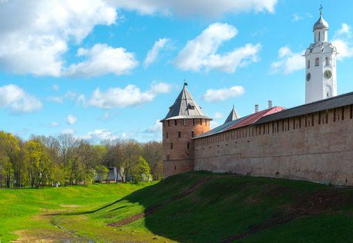 medieval tower of the Kremlin in Veliky Novgorod
