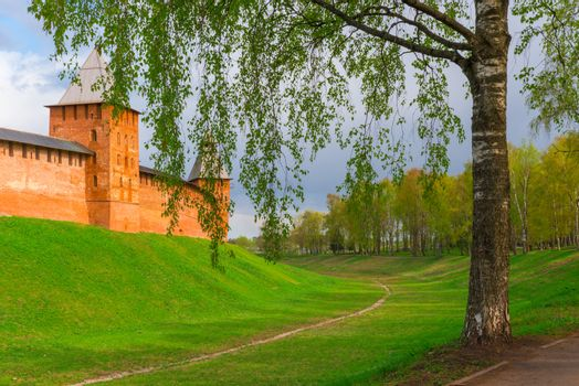 part of the walls of the Kremlin in Veliky Novgorod with tower