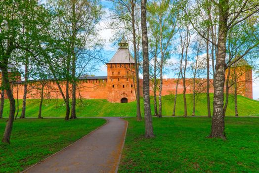 park around the Kremlin. Veliky Novgorod