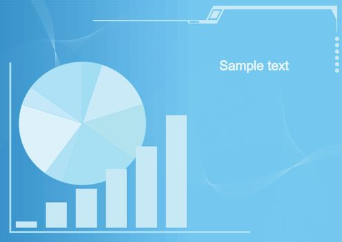 Editable business vector background with space for your text - Graph showing growth of profits
