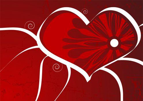 Grunge editable vector Valentines background , red heart