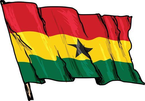 hand drawn, sketch, illustration of flag of Ghana